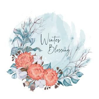 Tarjeta de invierno con flores rojas