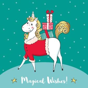 Tarjeta de invierno con lindo unicornio-santa y regalos.