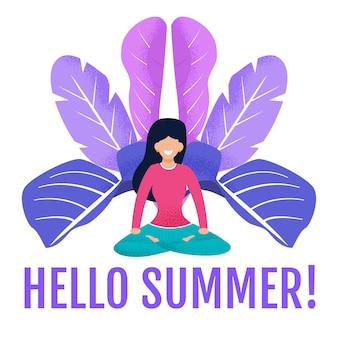Tarjeta de invitación. acogiendo con beneplácito las letras hola verano y meditando mujer tranquila