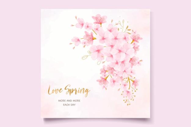 Tarjeta de invitación de acuarela de flor de cerezo