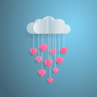 Tarjeta de invitación de amor nube de globo del día de san valentín con lluvia de corazones corte de papel