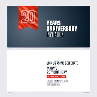 Tarjeta de invitación de aniversario de 20 años