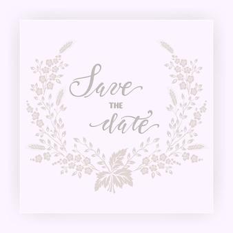 Tarjeta de invitación y anuncio de boda con flores.