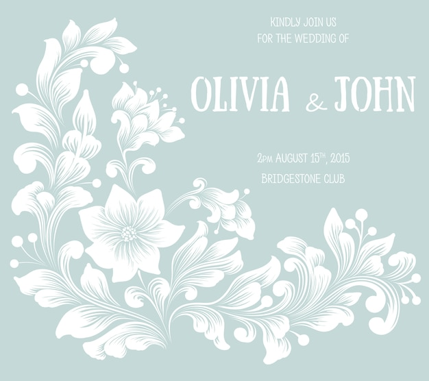 Tarjeta de invitación y anuncio de boda con ilustraciones de fondo floral. elegante fondo floral adornado. fondo floral y elementos florales elegantes. plantilla de diseño.