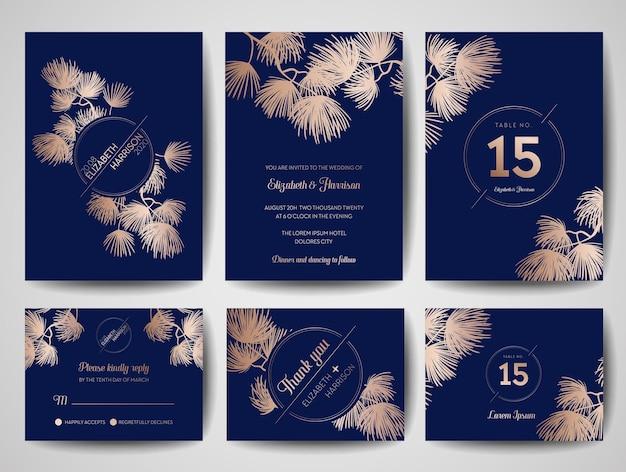 Tarjeta de invitación de árbol de pino de monograma de boda, guardar la plantilla de fecha azul marino con diseño de lámina dorada, ilustración vectorial