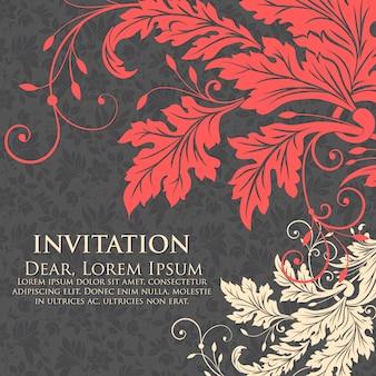Tarjeta de la invitación y del aviso de la boda con las ilustraciones florales del fondo. elegante fondo floral adornado. fondo floral y elementos elegantes de la flor. plantilla de diseño.