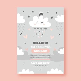 Tarjeta de invitación de baby shower chuva de amor dibujada a mano