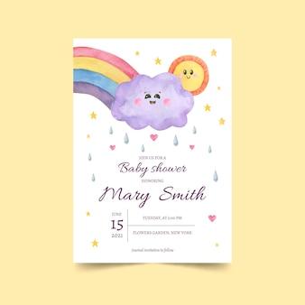 Tarjeta de invitación de baby shower chuva de amor pintada a mano