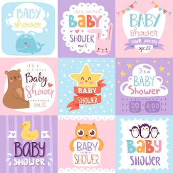 Tarjeta de invitación de baby shower con estampado
