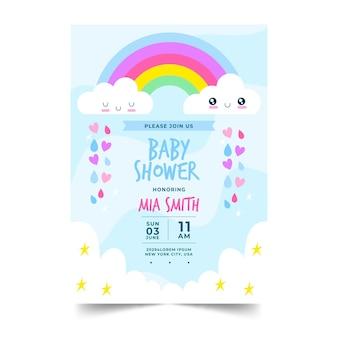 Tarjeta de invitación de baby shower orgánica plana chuva de amor