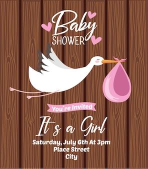 Invitación De Fiesta De Bebé En Estilo Plano Vector Gratis
