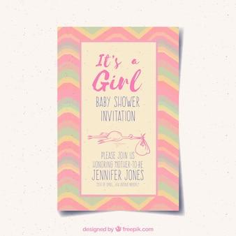 Tarjeta de invitación de bebé con color rosa