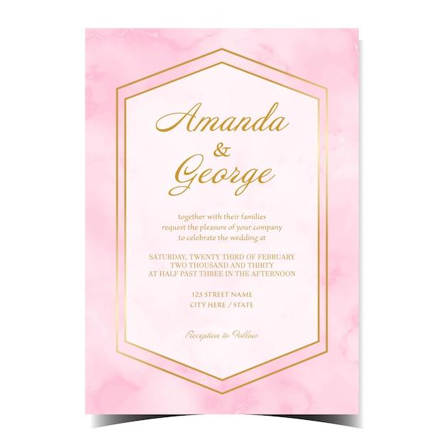 Tarjeta de invitación de boda abstracta con mármol rosa