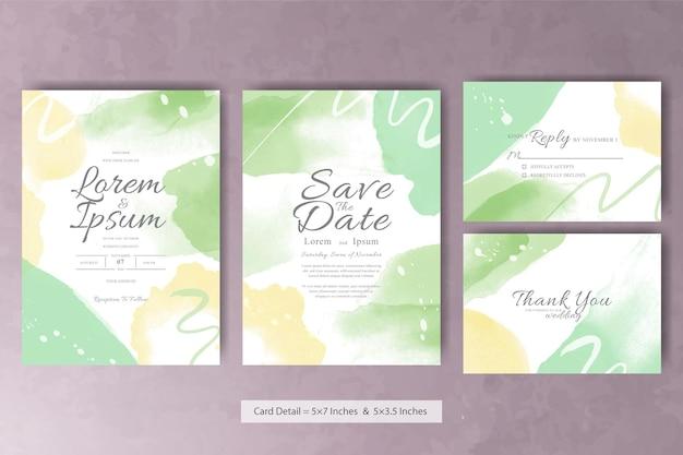 Tarjeta de invitación de boda de acuarela abstracta con color pastel y pintura de arte fluido colorido