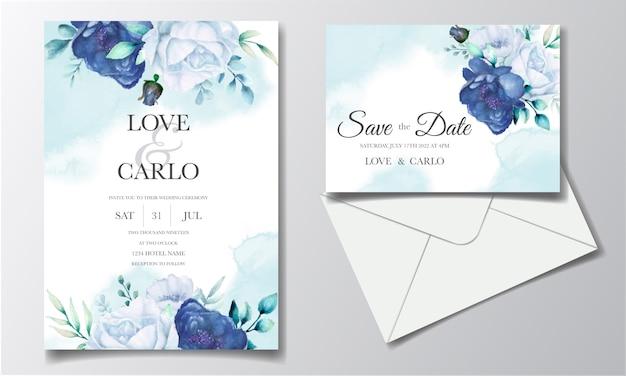 Tarjeta de invitación de boda con acuarela azul floral