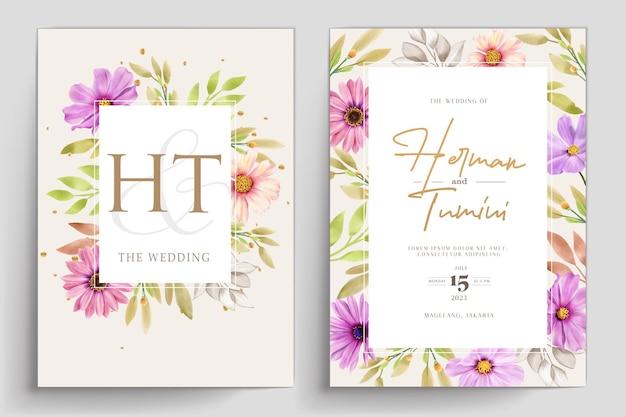 Tarjeta de invitación boda acuarela crisantemo