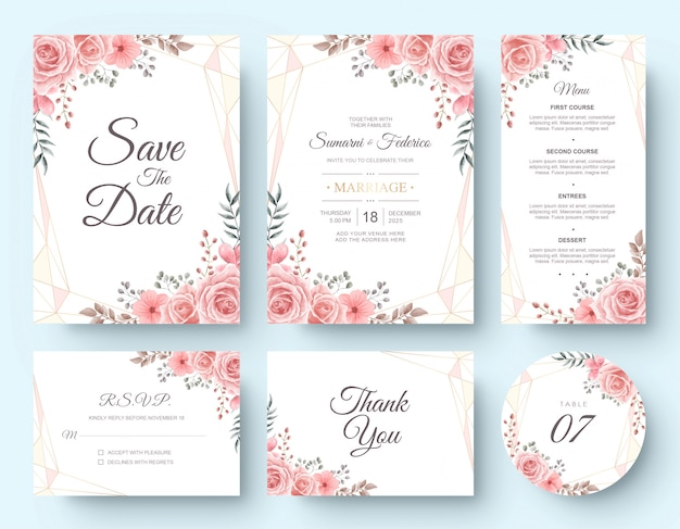 Tarjeta de invitación de boda acuarela flor conjunto de papelería