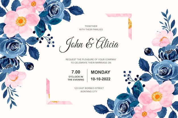 Tarjeta de invitación de boda con acuarela de flor rosa azul