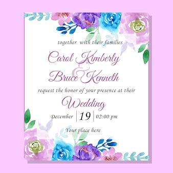 Tarjeta de invitación de boda con acuarela floral azul y púrpura