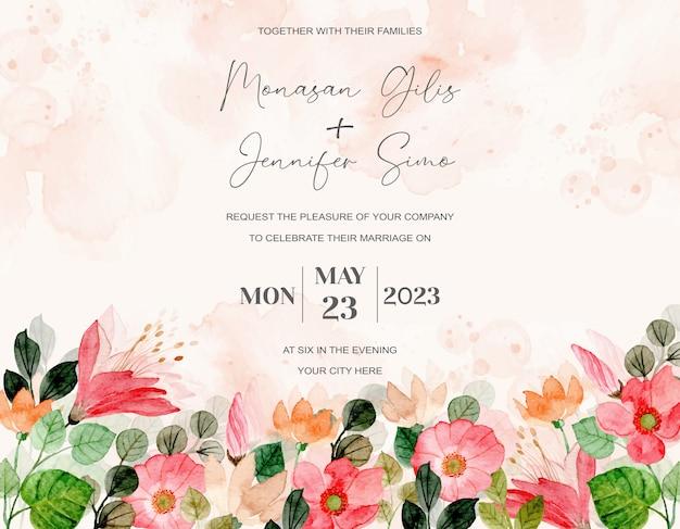 Tarjeta de invitación de boda con acuarela floral colorida flor