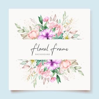 Tarjeta de invitación de boda con acuarela floral verde suave