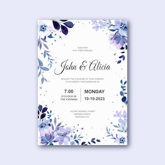 Tarjeta de invitación de boda con acuarela floral violeta suave