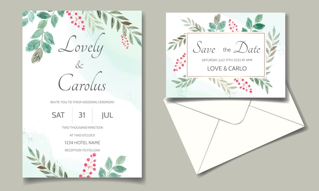 Tarjeta de invitación de boda acuarela floral