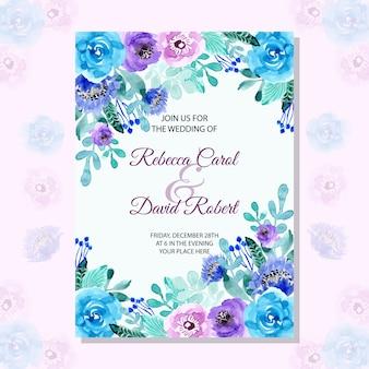 Tarjeta de invitación de boda con acuarela floral