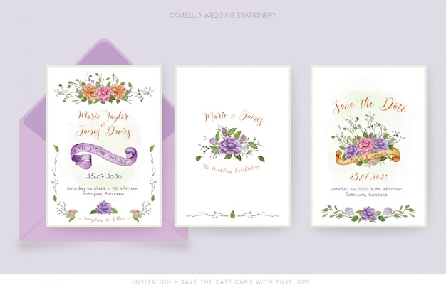 Tarjeta de invitación de boda en acuarela y guardar la tarjeta de fecha