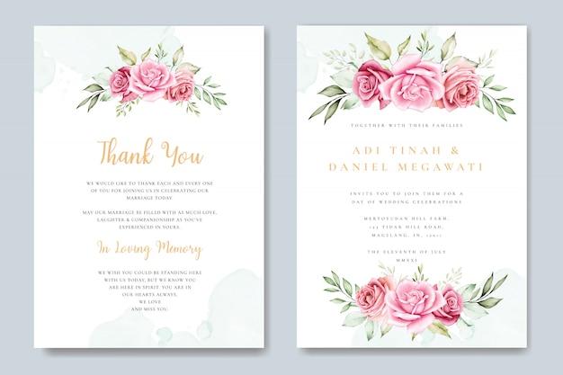 Tarjeta de invitación de boda acuarela con hermosa plantilla floral y hojas