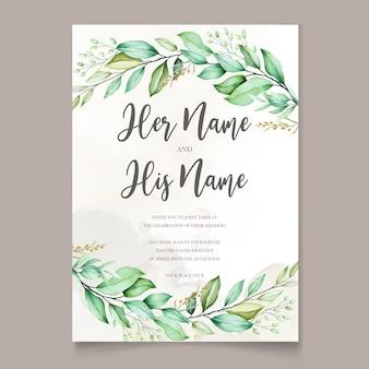 Tarjeta de invitación de boda acuarela en hojas verdes