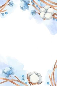 Tarjeta de invitación de boda acuarela. invierno de algodón y anémonas. ilustración vectorial