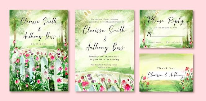 Tarjeta de invitación de boda en acuarela de jardín verde y flores rosas