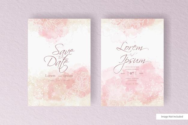 Tarjeta de invitación de boda de acuarela minimalista con diseño de acuarela líquida