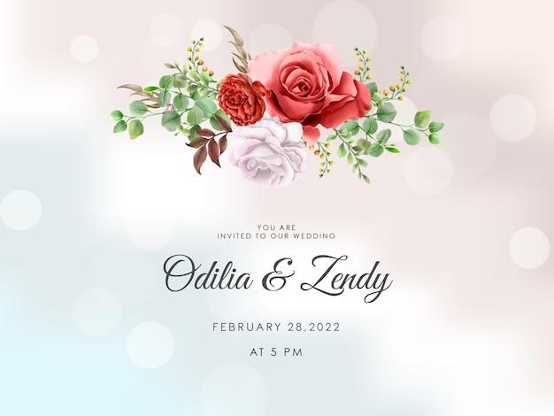Tarjeta de invitación de boda de acuarela rojo granate y rosa blanca