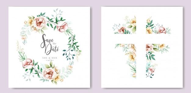 Tarjeta de invitación de boda acuarela