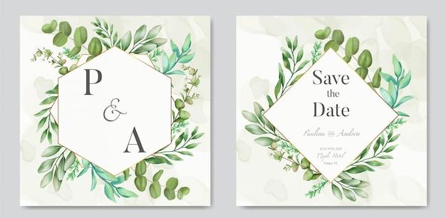 Tarjeta de invitación de boda con adornos florales y marco dorado