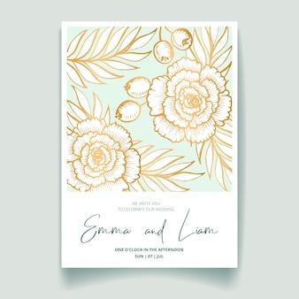 Tarjeta de invitación de boda, ahorre la fecha con flores doradas, hojas y ramas.