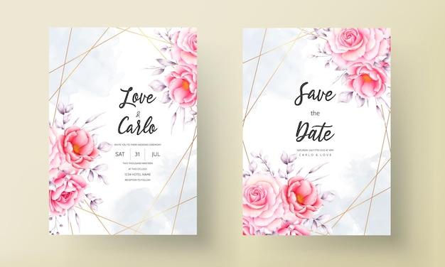 Tarjeta de invitación de boda con arreglo de flores y hojas de acuarela dibujada a mano