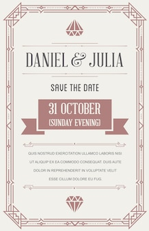 Tarjeta de invitación de boda en art deco