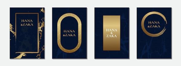 Tarjeta de invitación de boda azul mármol marco dorado