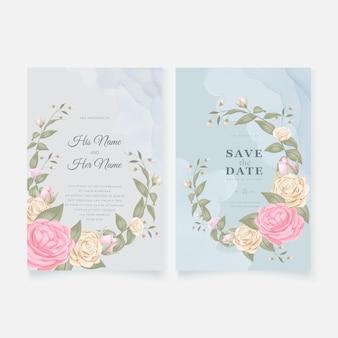 Tarjeta de invitación de boda azul con rosas elegantes