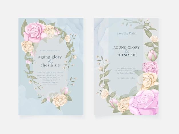 Tarjeta de invitación de boda azul con rosas y hojas