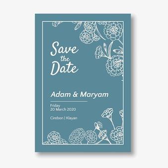 Tarjeta de invitación de boda con belleza doodle dibujado a mano clavel floral flor ornamento contorno estilo vintage