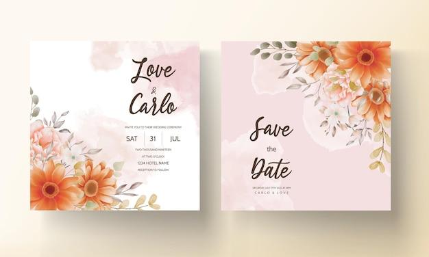 Tarjeta de invitación de boda boho marrón floral