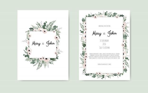 Tarjeta de invitación de boda botánica