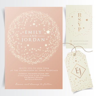 Tarjeta de invitación de boda brillante con marco circular de estrellas voladoras