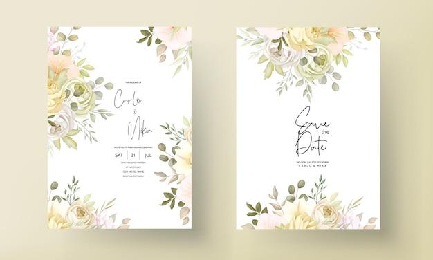 Tarjeta de invitación de boda con cálida y suave otoño otoño floral