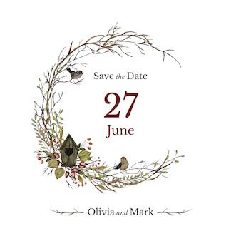 Tarjeta de invitación de boda con casita para pájaros y corona floral