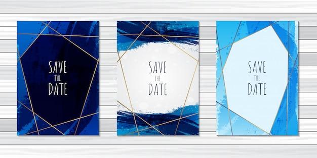 Tarjeta de invitación de boda cepillo azul resumen
